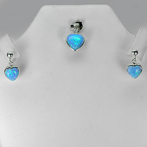 Blue Created Opal Real 925 Sterling Silver Jewelry Sets Pendant And Earrings