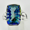 7.61 G. Natural Mystic Blue Quartz Real 925 Sterling Silver Jewelry Ring Size 9