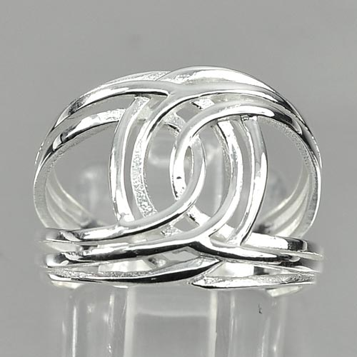 3.25 G. Good Looking Design Real 925 Sterling Silver Ring Jewelry Size 7