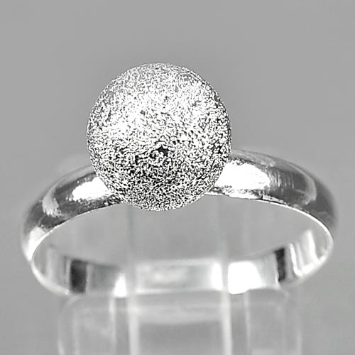 2.19 G. Beautiful Real 925 Sterling Silver White Gold Plated Ball Ring Size 9