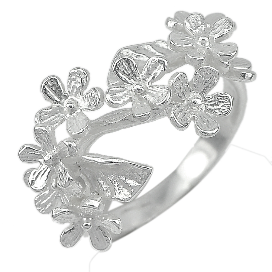 4.50 G. Beautiful Real 925 Sterling Silver Jewelry Flower Ring Size 8