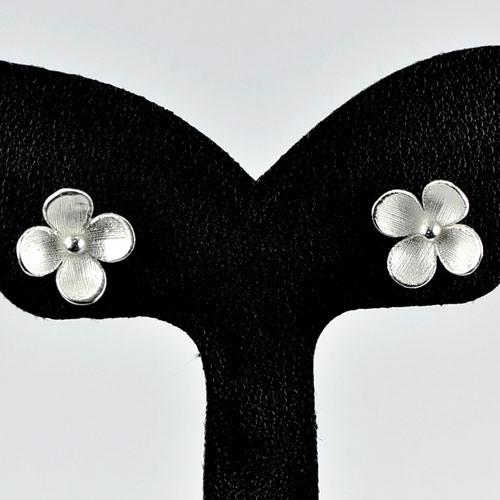 1.48 G. 1 Pair  Real 925 Sterling Silver Flower Stud Earrings Beautiful