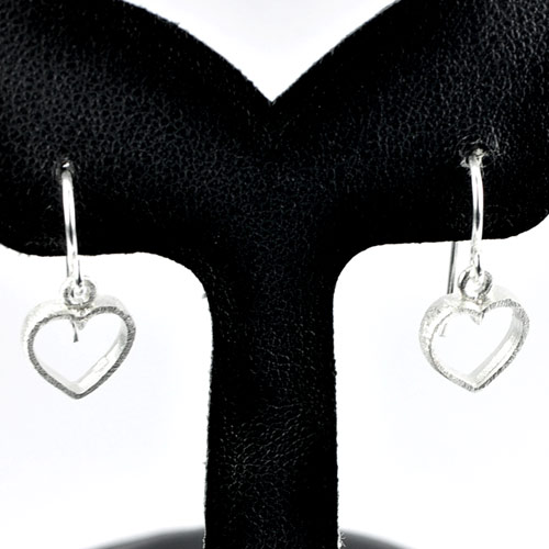 1.24 G. Real 925 Sterling Silver Heart Dangle Earrings Jewelry Good