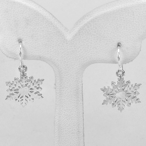 2.15 G. 1 Pair Snowflake Design Real 925 Sterling Silver Dangle Earrings