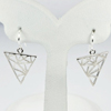 2.34 G. Geometric Triangle Design Real 925 Sterling Silver Dangle Earrings