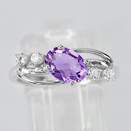 2.31 G. Real 925 Sterling Silver Ring Size 7.5 Natural Gemstone Purple Amethyst