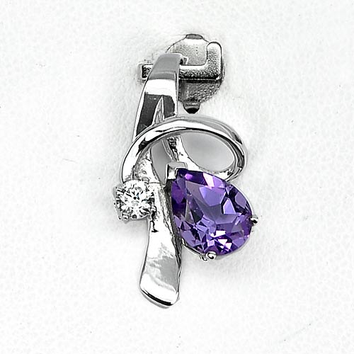 1.44 G. Real 925 Sterling Silver Jewelry Pendant Natural Gem Purple Amethyst