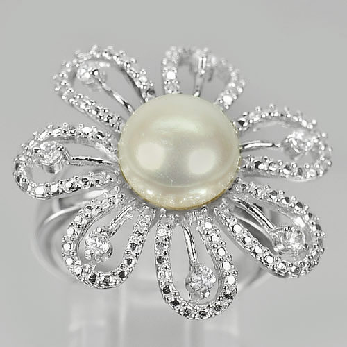 7.96 G. Natural White Pearl Real 925 Sterling Silver Flower Ring Size 7.5