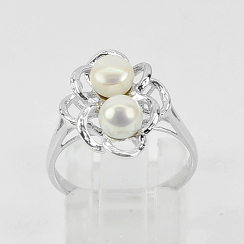 2.48 G. Good Round Cab Natural Pearl Real 925 Sterling Silver Ring Size 5.5