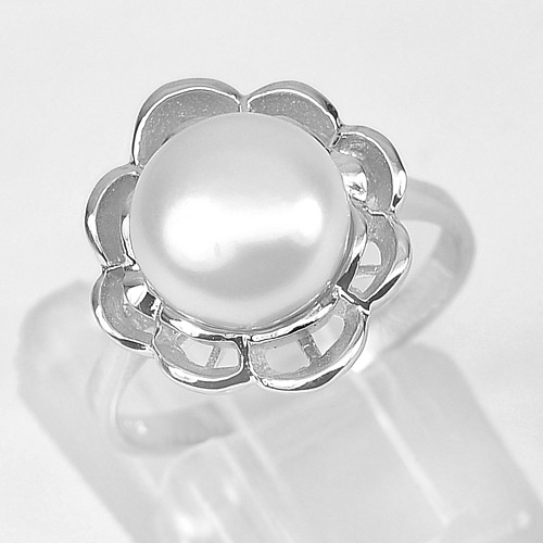 3.41 G. Natural Gemstone White Pearl Real 925 Sterling Silver Ring Size 7