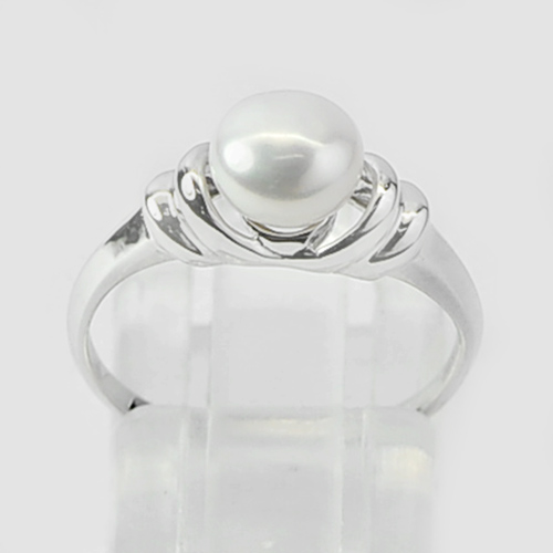 1.52 G. Round Cab Natural White Pearl Real 925 Sterling Silver Ring Size 6.5