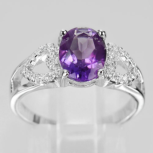 2.70 G. Natural Gemstone Purple Amethyst Real 925 Sterling Silver Ring Size 5
