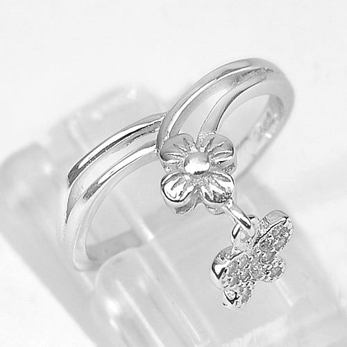 1.75 G.Real 925 Sterling Silver Jewelry Flower Butterfly Design Ring Size 5.5