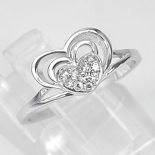 1.32 G. Modern Design Real 925 Sterling Silver Triple Heart Stacked Ring Size 6