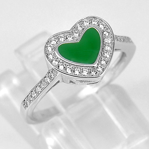 2.13 G. Round White CZ Real 925 Sterling Silver Green Enamel Heart Ring Size 6
