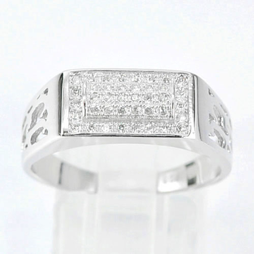 3.32 G. Real 925 Sterling Silver White Gold Plated Jewelry Ring Size 9.5