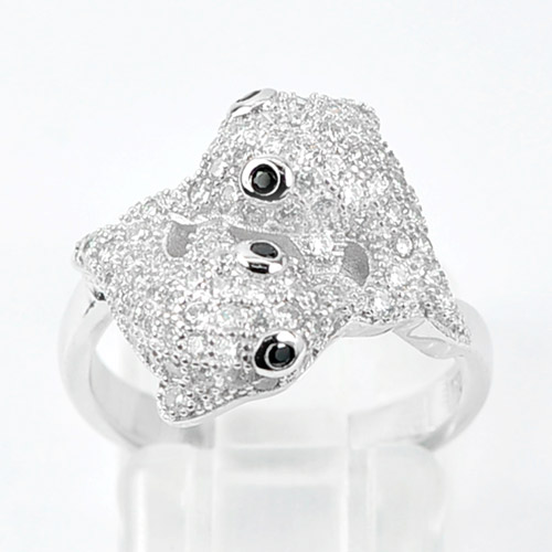 4.79 G. Double Dolphin with CZ Real 925 Sterling Silver Jewelry Ring Size 7.5