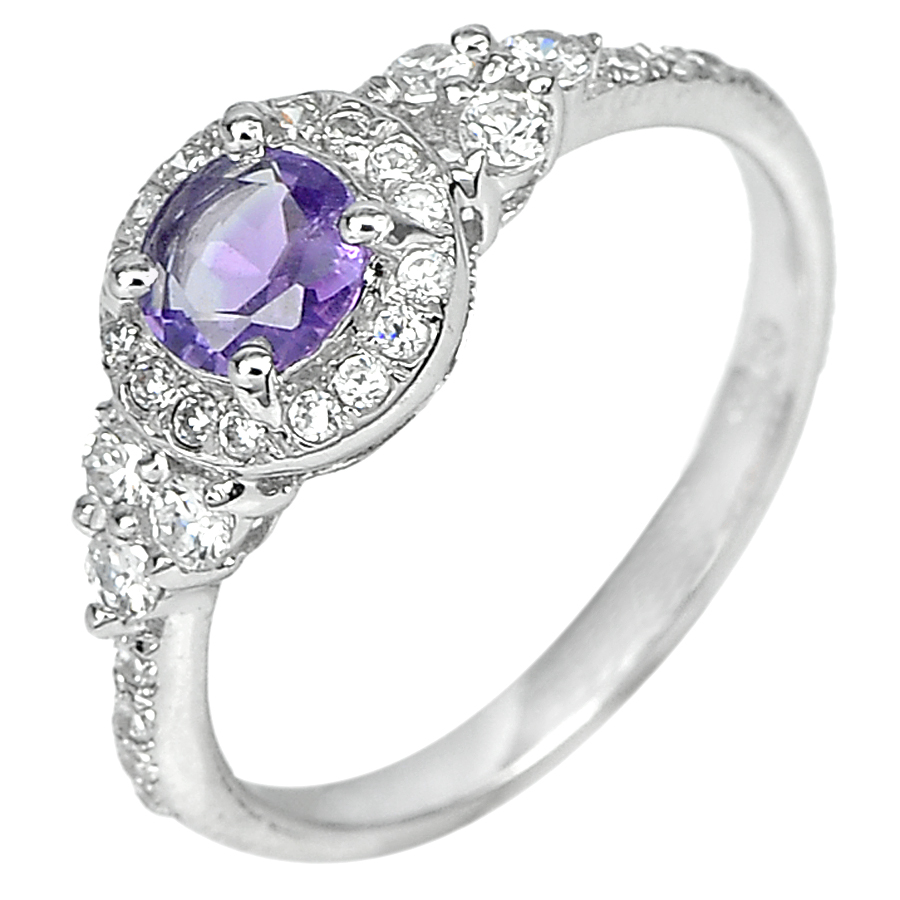 1.93 G. Real 925 Sterling Silver Ring Size 7.5 Natural Purple Amethyst with Cz