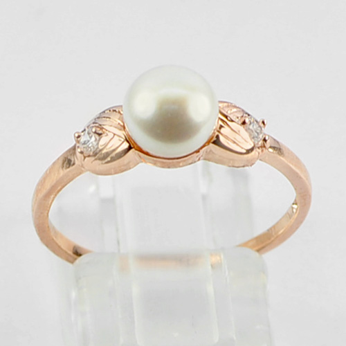 1.95 G. Natural Pearl Real 925 Sterling Silver Rose Gold Plated Ring Size 8