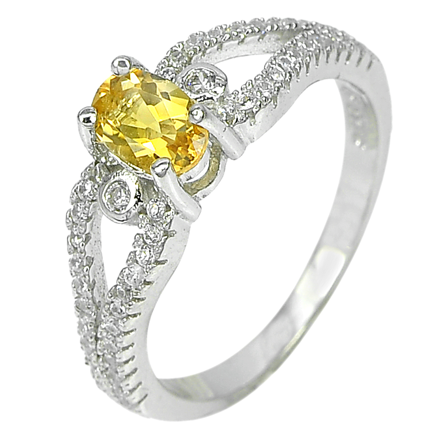 2.29 G. Lovely Natural Gem Yellow Citrine Real 925 Sterling Silver Ring Size 5.5