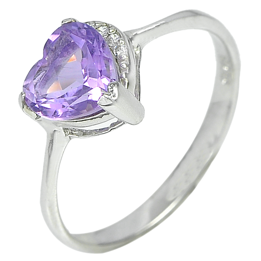 1.09 G. Good  Natural Purple Amethyst Real 925 Sterling Silver Ring Size 7