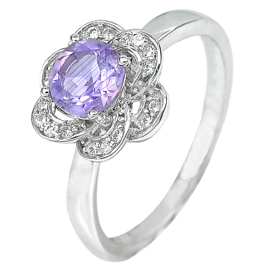 2.73 G. Natural Purple Amethyst Real 925 Sterling Silver Jewelry Ring Size 6.5