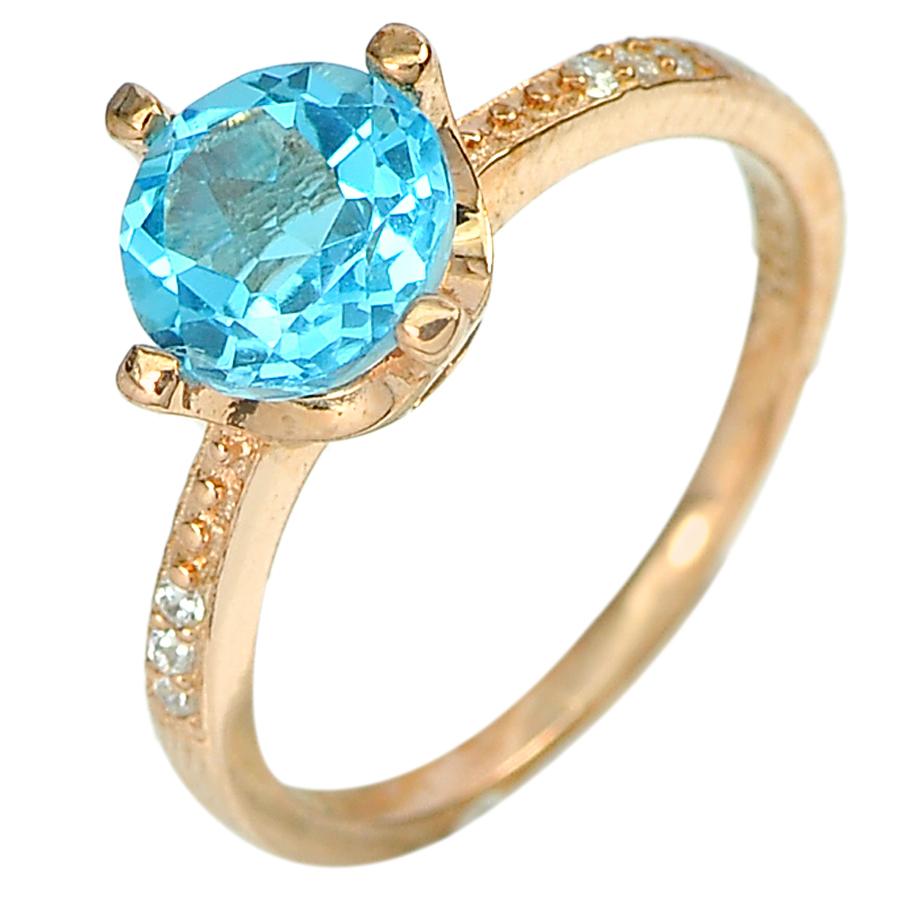 2.06 G. Natural Blue Topaz 925 Sterling Silver Rose Gold Plated Ring Size 7