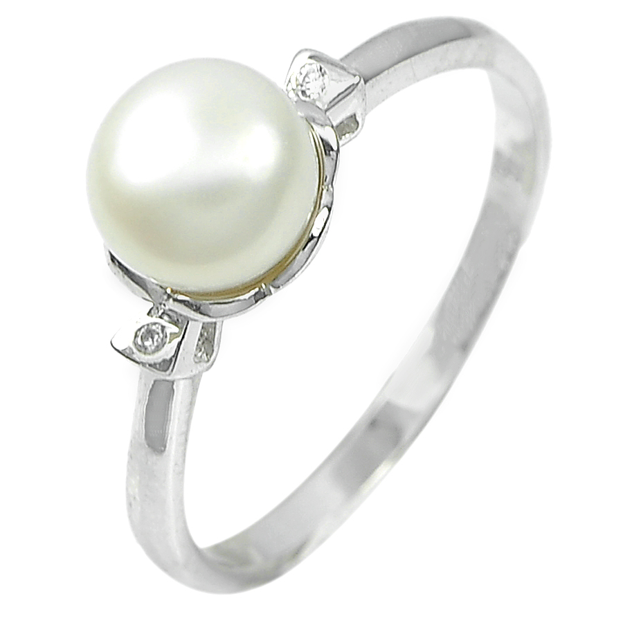 2.13 G. Natural White Pearl Gemstone Real 925 Sterling Silver Ring Size 7.5