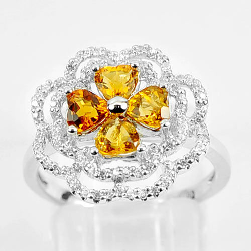 3.26 G. Natural Gems Yellow Citrine Real 925 Sterling Silver Ring Size 5.5