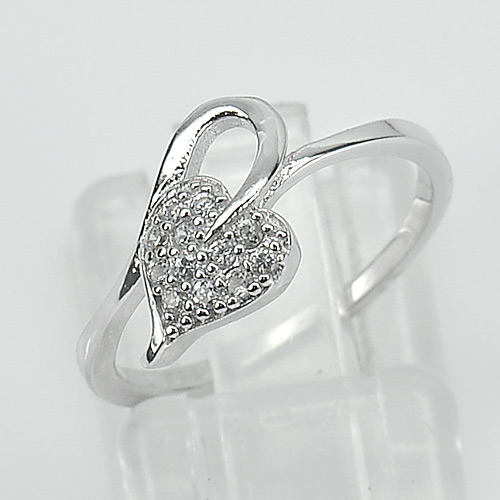 1.50 G. Charming Leaf Design Real 925 Sterling Silver Jewelry Ring Size 5.5