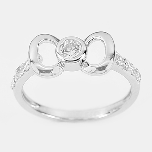 1.71 G.Beautiful Knot Design with White CZ Real 925 Sterling Silver Ring Size 7