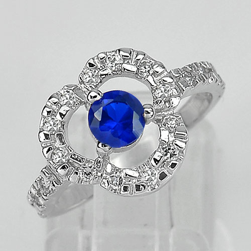 3.20 G. Real 925 Sterling Silver Jewelry Ring Size 6.5 with Round Blue CZ