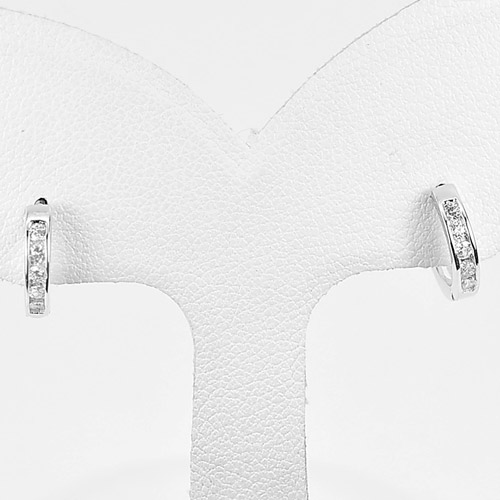 1 Pair 925 Sterling Silver Jewelry Loop Earrings Lovely Design
