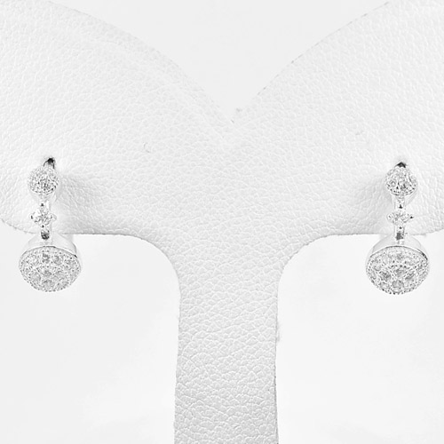 1 Pair Real 925 Sterling Silver Jewelry Loop Earrings with White Cz