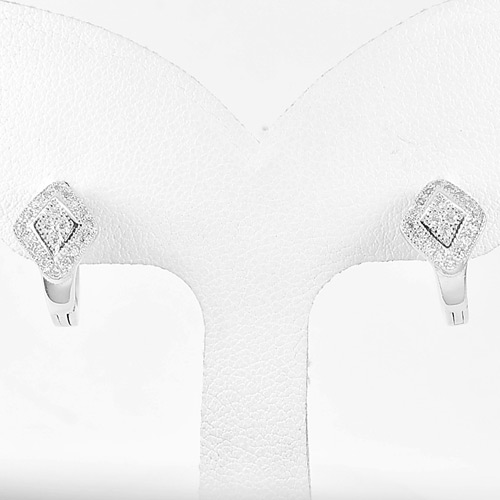 1 Pair 925 Sterling Silver Jewelry Loop Earrings Good Design Size 12 x 8 Mm.
