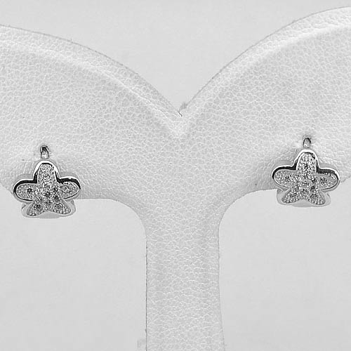 1 Pair 925 Sterling Silver Jewelry Loop Earrings Flower Design Size 10 x 8 Mm.