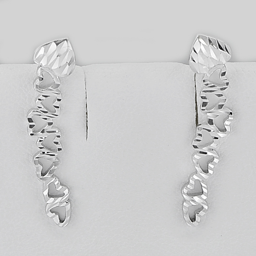 2.20 G. Heart Design Real 925 Sterling Siver White Gold Plated Jewelry Earrings