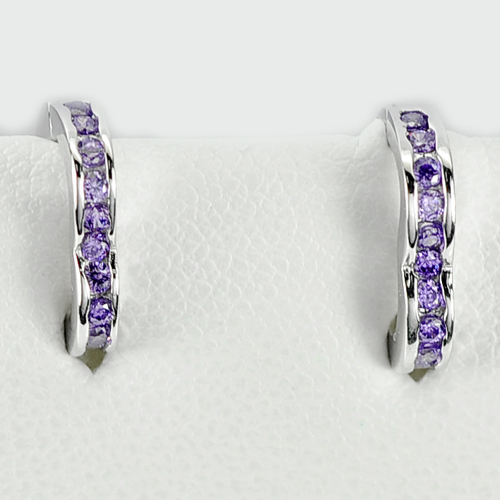 1.80 G. Round Shape Purple CZ Real 925 Sterling Silver Jewelry Earrings 12 x 2mm