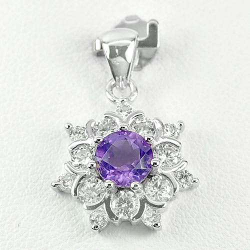 2.65 G. Natural Purple Amethyst 925 Sterling Silver White Gold Plated Pendant