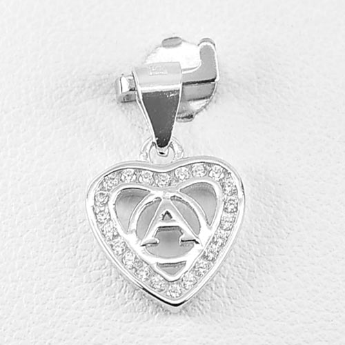 0.91 G. Real 925 Sterling Silver Jewelry Initial Alphabet A in Heart Pendant