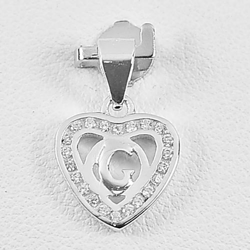 0.93 G. Real 925 Sterling Silver Jewelry Initial Alphabet G in Heart Pendant