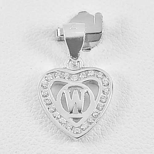 0.97 G. Real 925 Sterling Silver Initial Alphabet W in Heart Pendant with CZ