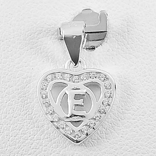 0.94 G. Real 925 Sterling Silver Pendant Initial Alphabet E in Heart with Cz