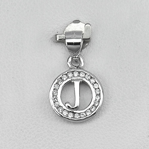 0.91 G. Real 925 Sterling Silver Jewelry Initial Alphabet J in Circle Pendant