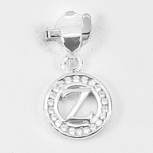 0.98 G. Initial Alphabet Z in Circle Jewelry Real 925 Sterling Silver Pendant