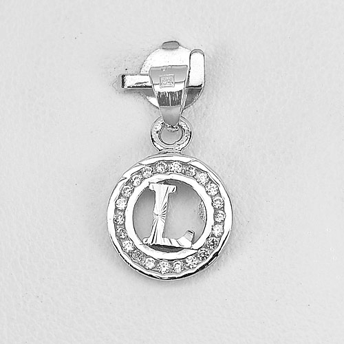 0.89 G. Good Real 925 Sterling Silver  Initial Alphabet L in Circle Pendant
