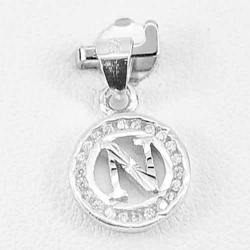 1.00 G. Real 925 Sterling Silver Jewelry Initial Alphabet N in Circle Pendant