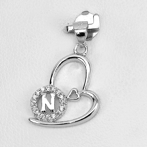 1.16 G. Initial Alphabet N in Heart Real 925 Sterling Silver Pendant Jewelry
