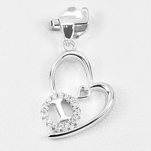 1.13 G. Initial Alphabet I in Heart Jewelry Real 925 Sterling Silver Pendant