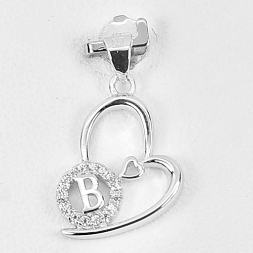 1.20 G. Initial Alphabet B in Heart Jewelry Real 925 Sterling Silver Pendant